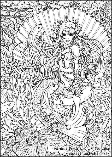 Adult Printable Mermaid Coloring Pages Coloring Page For Adults with Detailed Coloring Pages Of Mermaids 29451
