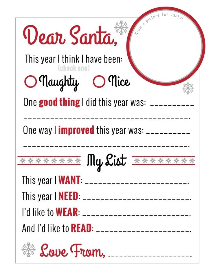 "Amazing ""dear Santa"" Christmas Wish List Printable! Free Until Dec in Dear Santa Christmas Wish List Template 26222"