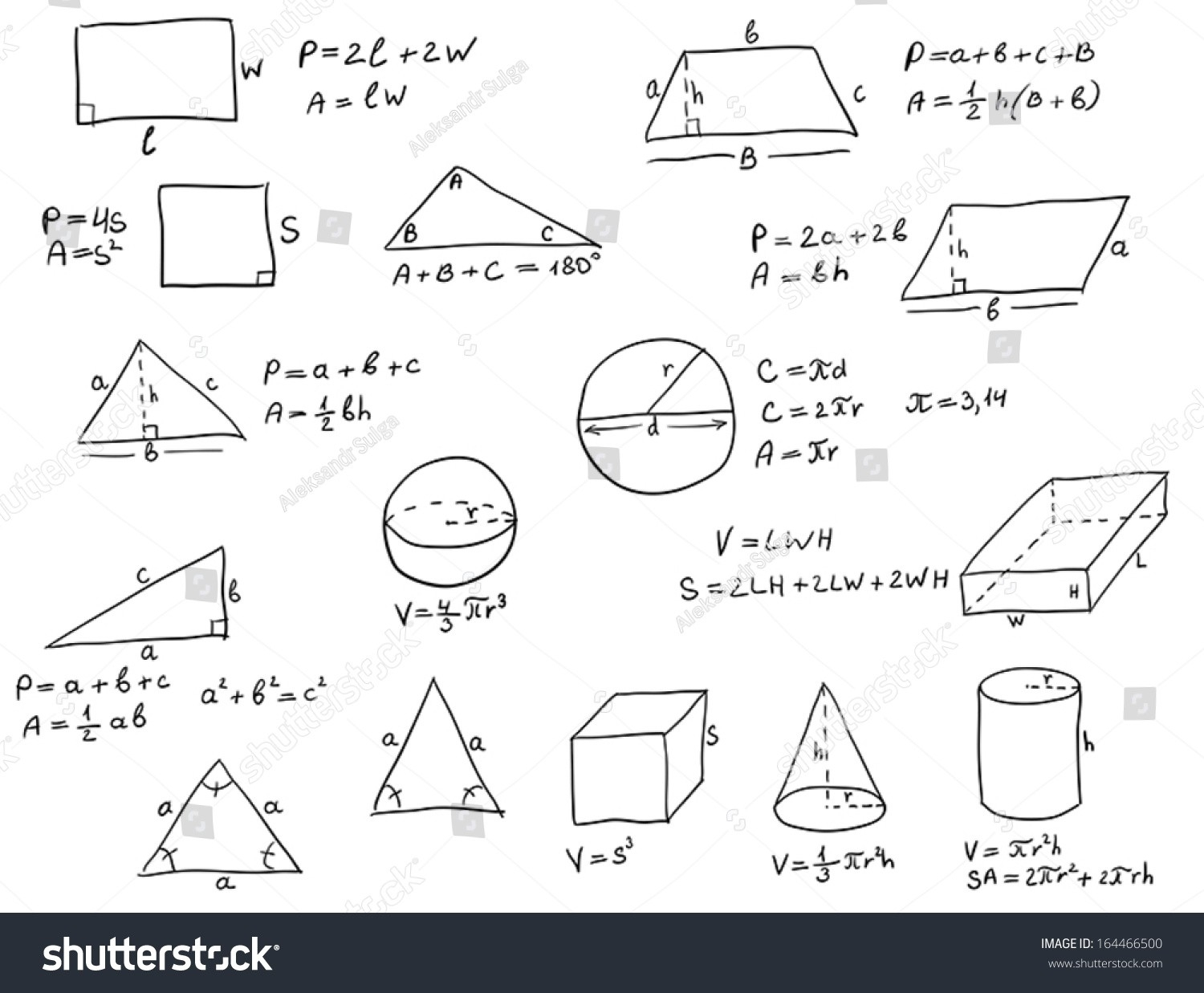 Background Hand Written Geometry Formulas Geometric Stock Vector with regard to Geometry Shapes And Formulas 25050