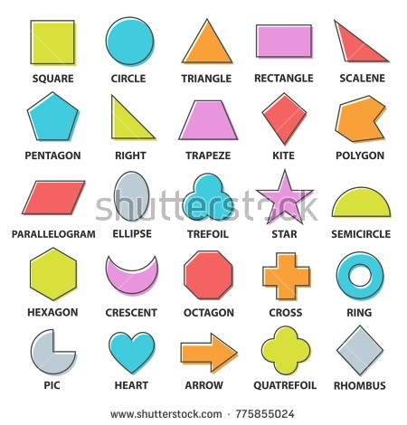 Basic Shapes Set Geometric Objects Collection Stock Vector for Shapes Names 24980