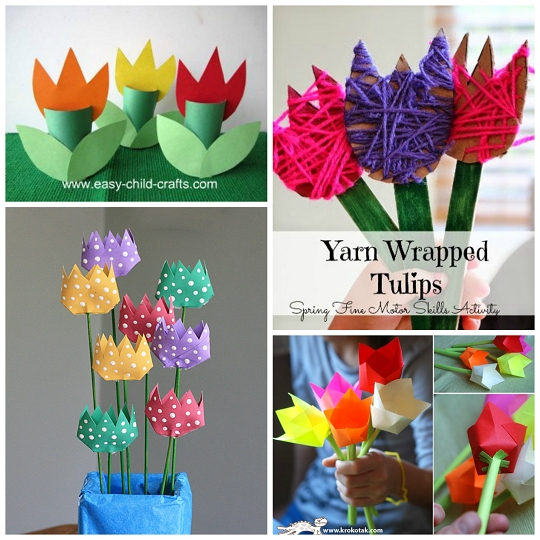 Beautiful Tulip Crafts That Kids Can Make - Crafty Morning within Crafts For Kids To Do At Home With Paper Step By Step 27020