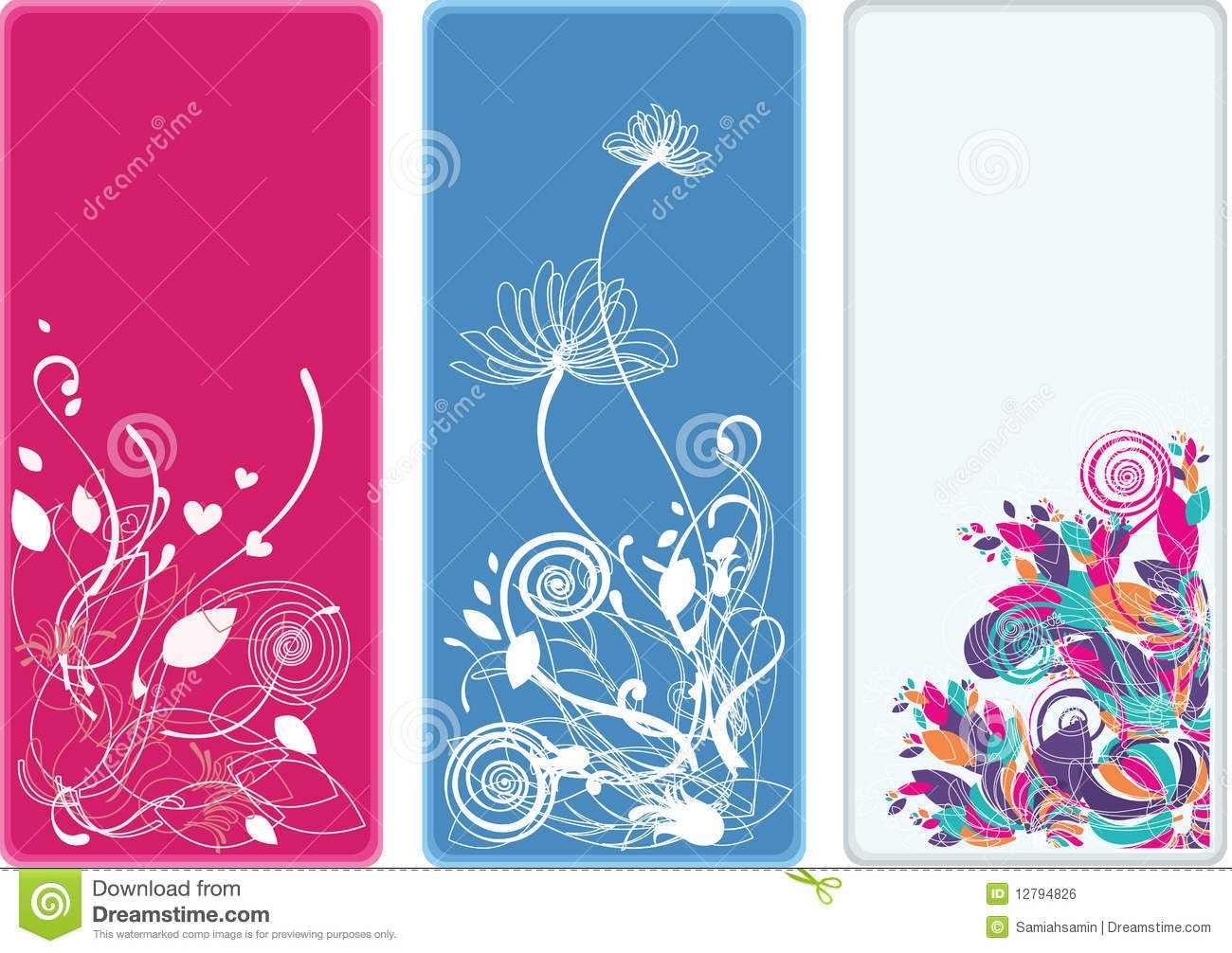 Beautiful Vertical Floral Bookmarks And Banners Stock Vector with regard to Bookmark Backgrounds Free Download 27170