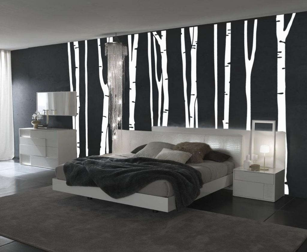 Bedroom : Fantastic Black White Bedroom Design With Black Plain intended for Bedroom Wall Painting Designs Black And White 30010