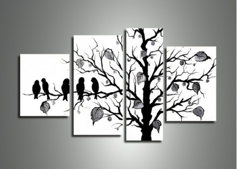 Bird Black White 221 - 50 X 30In, From Http://fabuart/large inside Black And White Wall Art Painting 28031