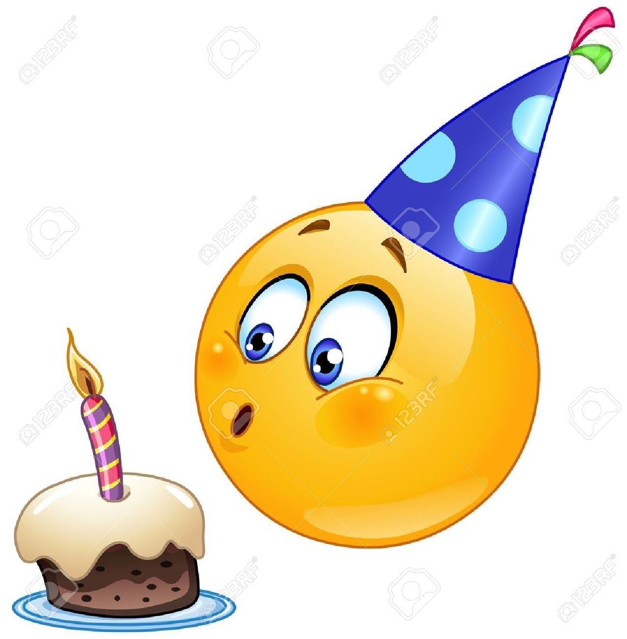 Birthday Emoticon Blowing Cake Candle Royalty Free Cliparts for Birthday Smiley Faces Clip Art 28375