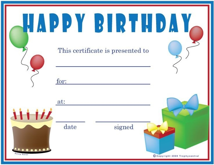 Birthday Gift Certificate Template | Free Printables! | Pinterest regarding Birthday Coupon Template 30308