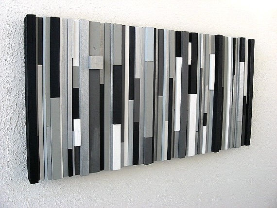 Black And White Abstract Art Modern Wall Art Wood Sculpture within Black And White Modern Wall Art 26684