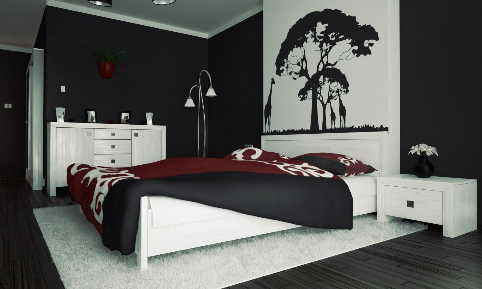 Black And White Bedroom Ideas | Trellischicago within Bedroom Wall Painting Designs Black And White 30010