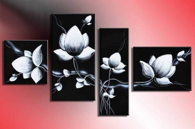 Black White Paintings Canvas Hand Painted Modern Wall Art Fly In with regard to Black And White Wall Art Painting 28031