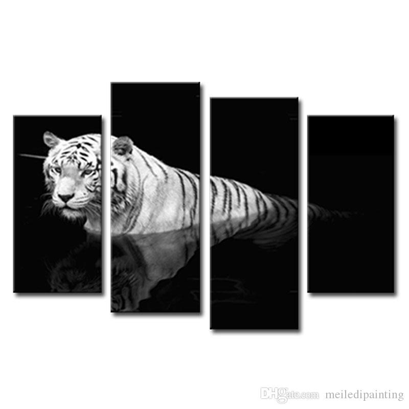 Black & White Wall Art Painting Tiger Prints On Canvas The Picture with Black And White Wall Art Painting 28031