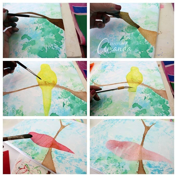 Bleeding Tissue Paper Birds On Canvas - That's Right, No Paint Was with Tissue Paper Art On Canvas 27500