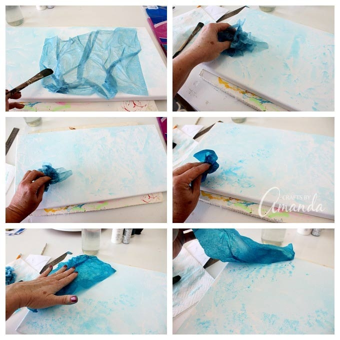 Bleeding Tissue Paper Birds On Canvas: Wall Art pertaining to Tissue Paper Art On Canvas 27500