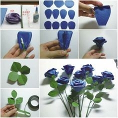 Blue Step By Step Handmade Flowers From Paper | Library Decor for Handmade Paper Craft Ideas Step By Step 27717