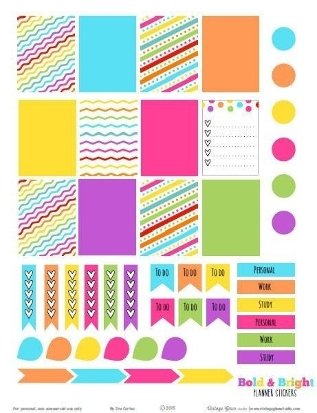 Bold And Bright Planner Stickers – Free Printable Download | Erin throughout Erin Condren Planner Stickers 30399