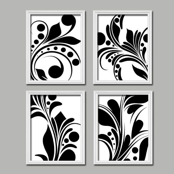 Bold Swirl Black & White Flourish Design Set Of 4 Abstract Prints throughout Black And White Wall Art Designs