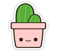 "Cactus In Cute Pot"" Stickers By Peppermintpopuk 
