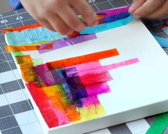 Canvas Painting Ideas For Kids Using Tissue Paper | Tissue Paper within Tissue Paper Art On Canvas 27500