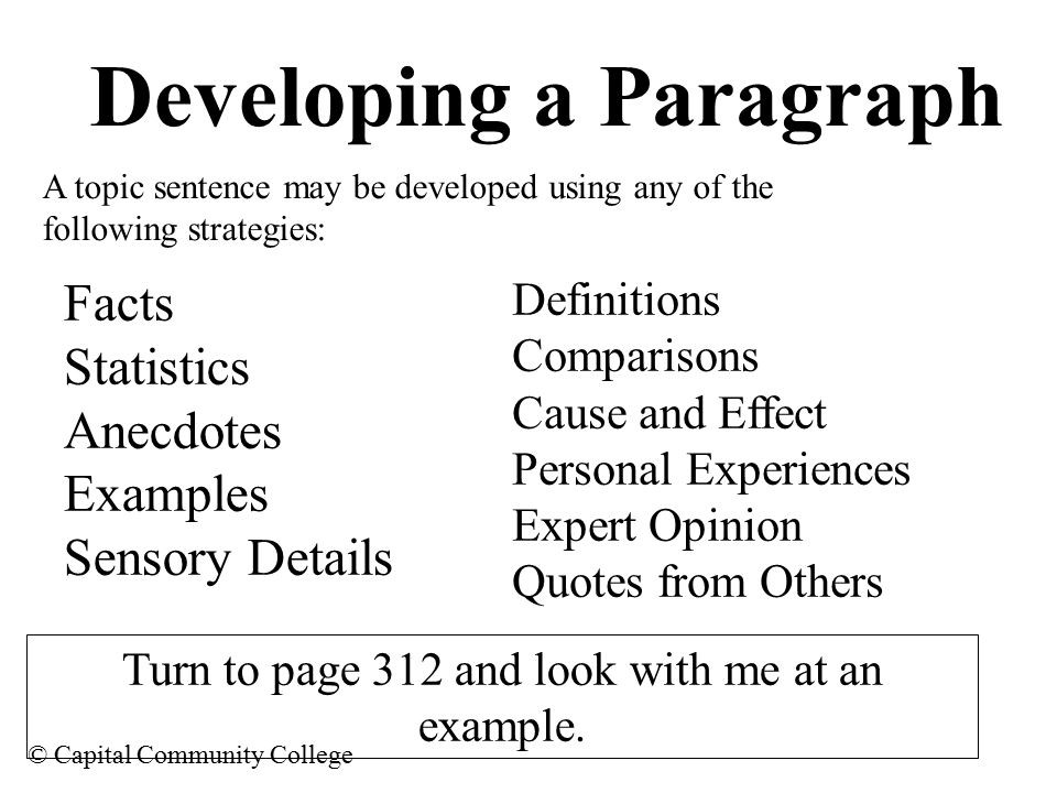 Capital Community College The Paragraph Is A Series Of Sentences within Topic Sentence Examples For College 28881