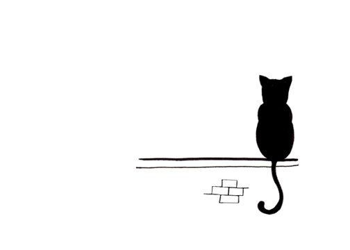 Cat Drawing - Simple Black And White Art Print - Sitting And for Simple Black And White Art 30096