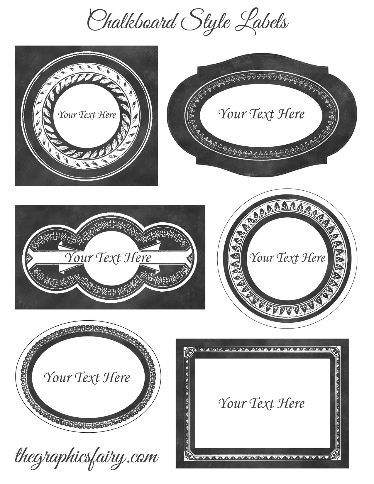 Chalkboard Style Printable Labels - Editable! - The Graphics Fairy with regard to Free Customizable Labels 26986