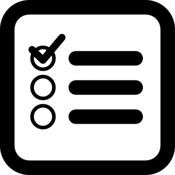 Checklist Square Interface Symbol Of Rounded Corners Icons | Free throughout Checklist Icon Black And White 26163
