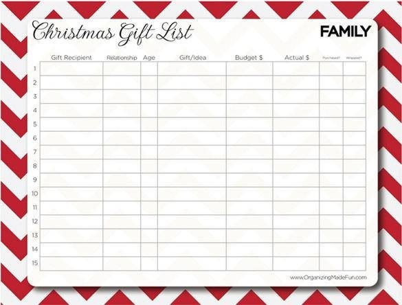 Printable Christmas Gift List Template Examples And Forms