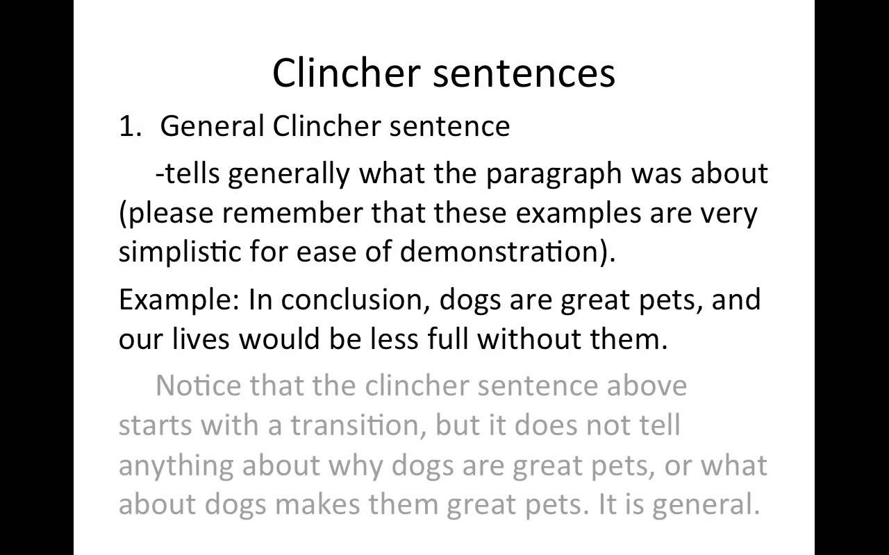 Clincher Sentences - Youtube throughout Conclusion Sentence Examples For Essays 28741