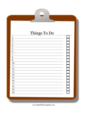 Clipboard To Do List - Openoffice Template intended for Clipboard Checklist Template 26172
