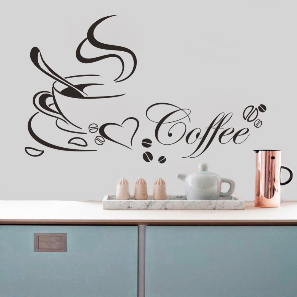 Coffee Cup With Heart Vinyl Quote Restaurant Kitchen Wall Stickers within Kitchen Wall Art Quotes 26594