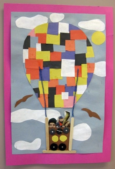 Collage Balloon Project: Using: Construction Paper, Buttons within Construction Paper Art Projects 28677