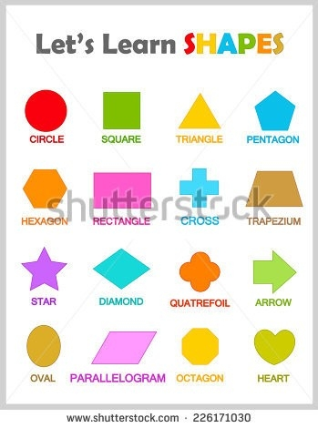 Colorful Geometric Shapes Their Name Clip Stock Vector 226171030 pertaining to Geometry Shapes Names 25040