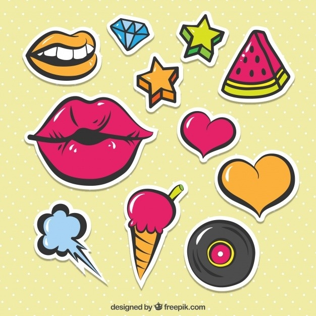 Colorful Pack Of Cute Stickers Vector | Free Download for Cute Stickers For Photos 30368