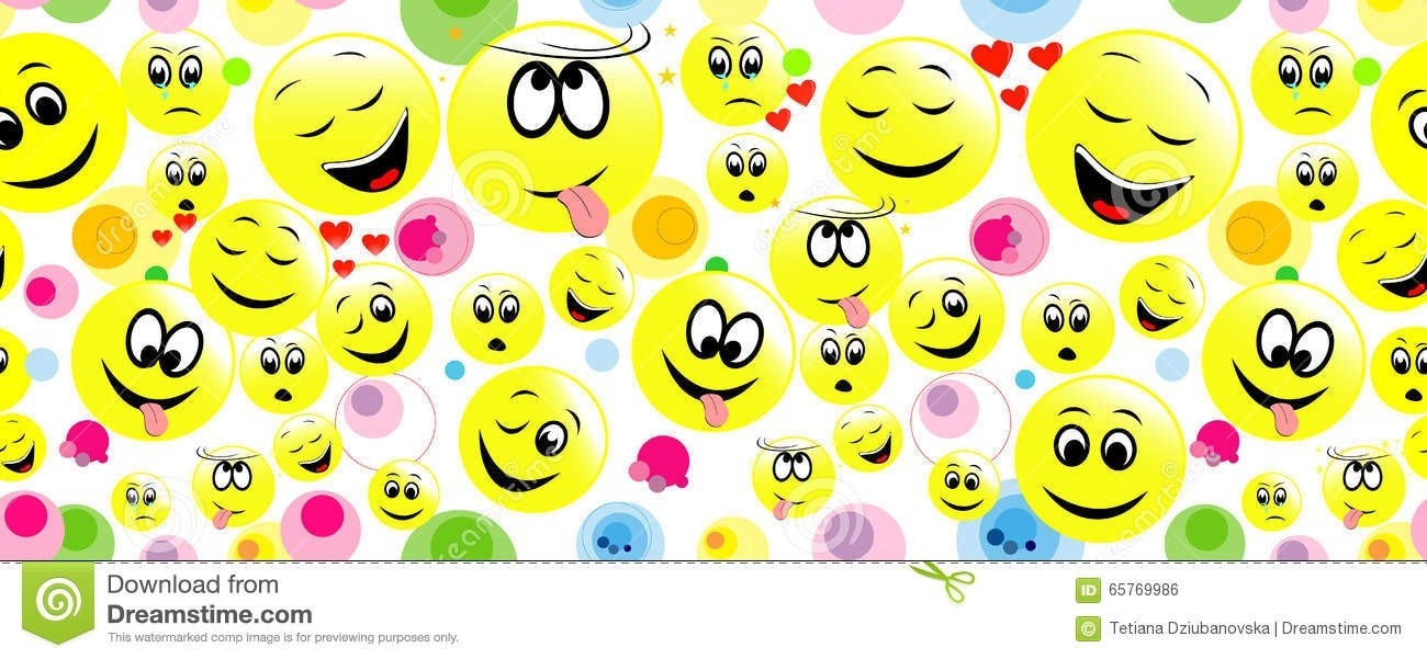 Colorful Seamless Background Of Funny Smiley Faces. Stock Vector inside Colorful Smiley Faces Backgrounds 30574