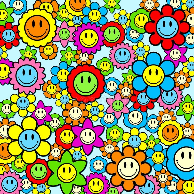 Colorful Smiley Face Flower Background Stock Vector - Illustration throughout Colorful Smiley Faces Backgrounds 30574