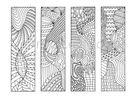 Coloring Bookmarks To Print 12 Zentangle Inspired Printable pertaining to Black And White Bookmarks To Print 26664