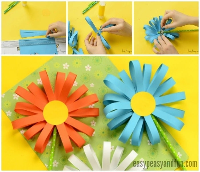 Construction Paper Flower Crafts Paper Flower Craft Easy Peasy And throughout Construction Paper Flowers 28616