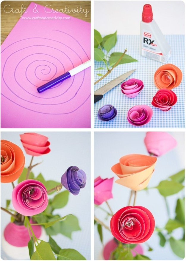 Construction Paper Flowers Ideas | Construction Paper Flowers inside How To Make Paper Roses With Construction Paper Step By Step 27563