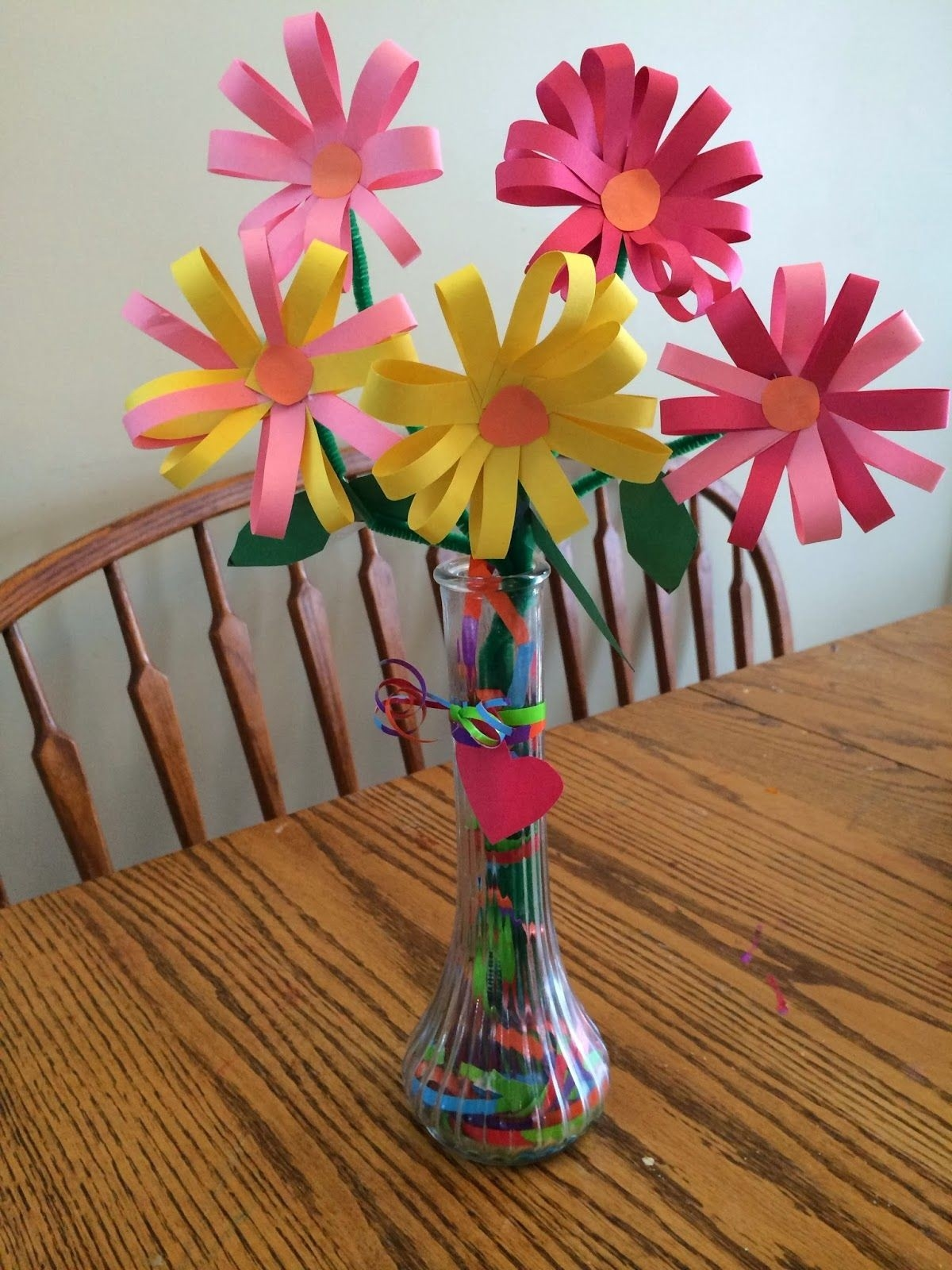 Construction Paper Flowers. Vase Filled With Gift-Wrap Ribbon intended for Construction Paper Flowers 28616