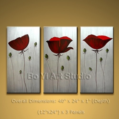 Contemporary Oil Painting Poppy Flower Modern Wall Art #2010 inside Modern Wall Art Painting 29784