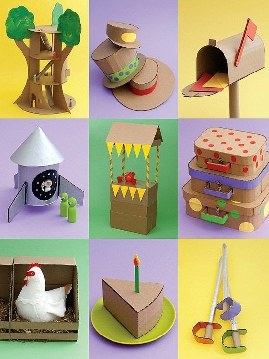 Crazy For Cardboard Crafts Inside Art And Craft Ideas For Kids in Art And Craft Ideas For Kids Using Recycled Materials 27670
