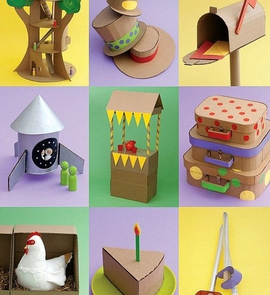 Crazy For Cardboard Crafts Inside Art And Craft Ideas For Kids
