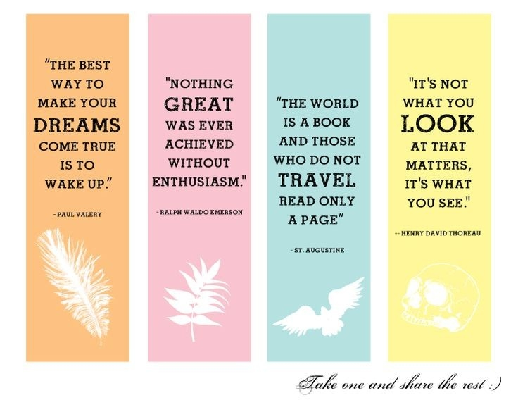 Creative Handmade Bookmarks Design With Quotes - Google Search within Cool Bookmarks That You Can Print 26442
