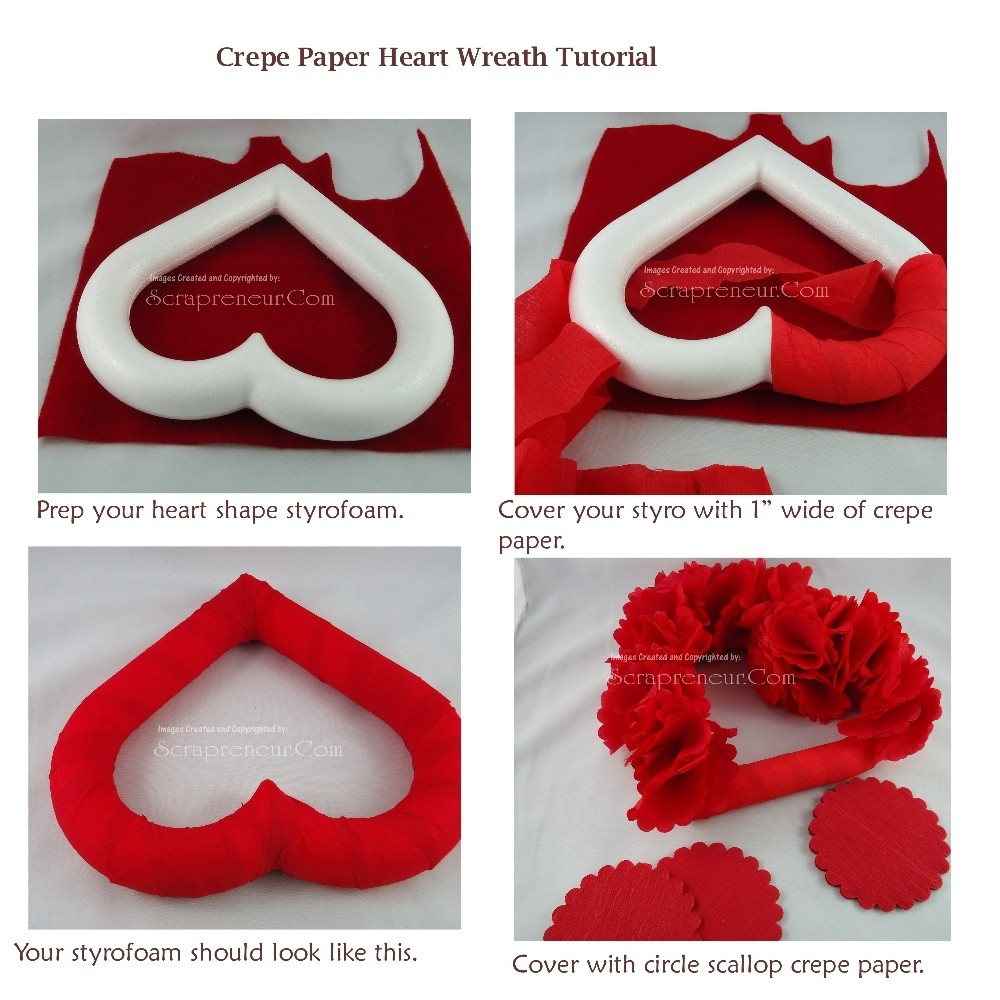 Crepe Paper Heart Wreath Tutorial - Jinkys Crafts inside Handmade Paper Crafts Tutorial 27626
