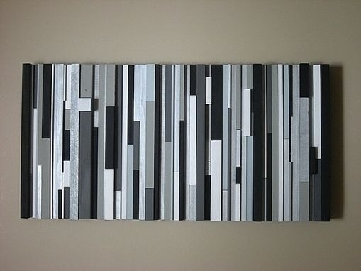 Custom Modern Wood Wall Art Sculpture Black White Greys Silver By pertaining to Black And White Modern Wall Art 26684