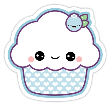 "Cute Blueberry Cupcake"" Stickers By Sugarhai 