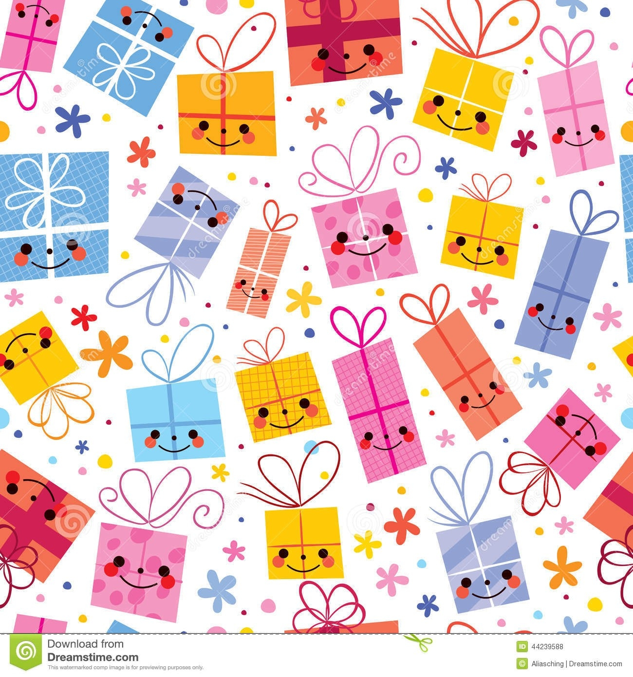 Cute Gifts Wrapping Paper Seamless Pattern Stock Vector intended for Birthday Gift Wrapper Design Pattern 29522