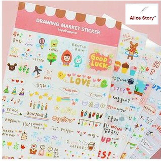 Cute Kawaii Drawing Market Pink Diary Notebook Planner Stickers with Cute Planner Stickers 30419
