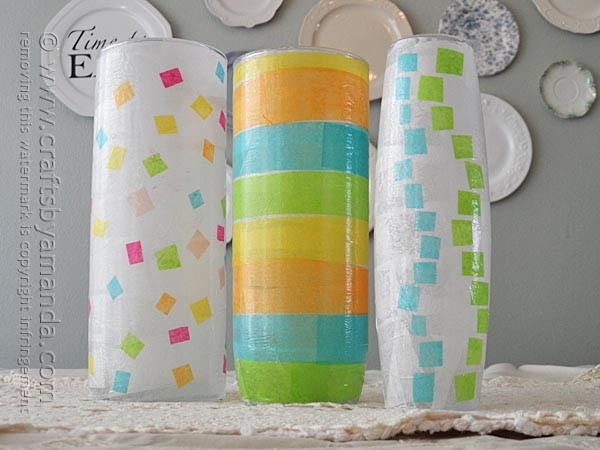 Decoupage Craft: Geometrical Spring Vases inside Tissue Paper Decoupage Crafts 27554