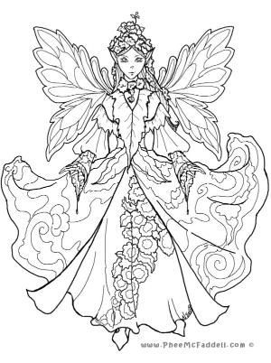 Detailed Coloring Pages For Adults | Court Fairy 2 Www regarding Detailed Coloring Pages Of Fairies 29472
