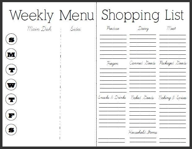 Diet Meal Planner With Grocery List | Gojiberrycilegi with Meal Planner With Grocery List 25523